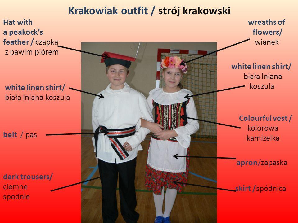 Krakowiak outfit / strój krakowski Hat with a peakocks feather / czapka z pawim piórem white linen shirt/ biała lniana koszula white linen shirt/ biał
