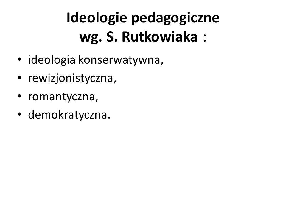 Ideologie pedagogiczne wg. S. Rutkowiaka : ideologia konserwatywna, rewizjonistyczna, romantyczna, demokratyczna.