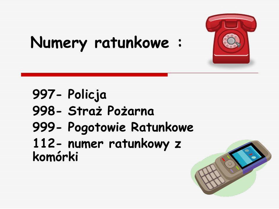 Treść wezwania pomocy - miejsce zdarzenia - co się stało - stan poszkodowanych - liczba poszkodowanych - wiek i płeć poszkodowanych - imię i nazwisko zgłaszającego i numer zwrotny NIGDY NIE ODKŁADAJ PIERWSZY TELEFONU !