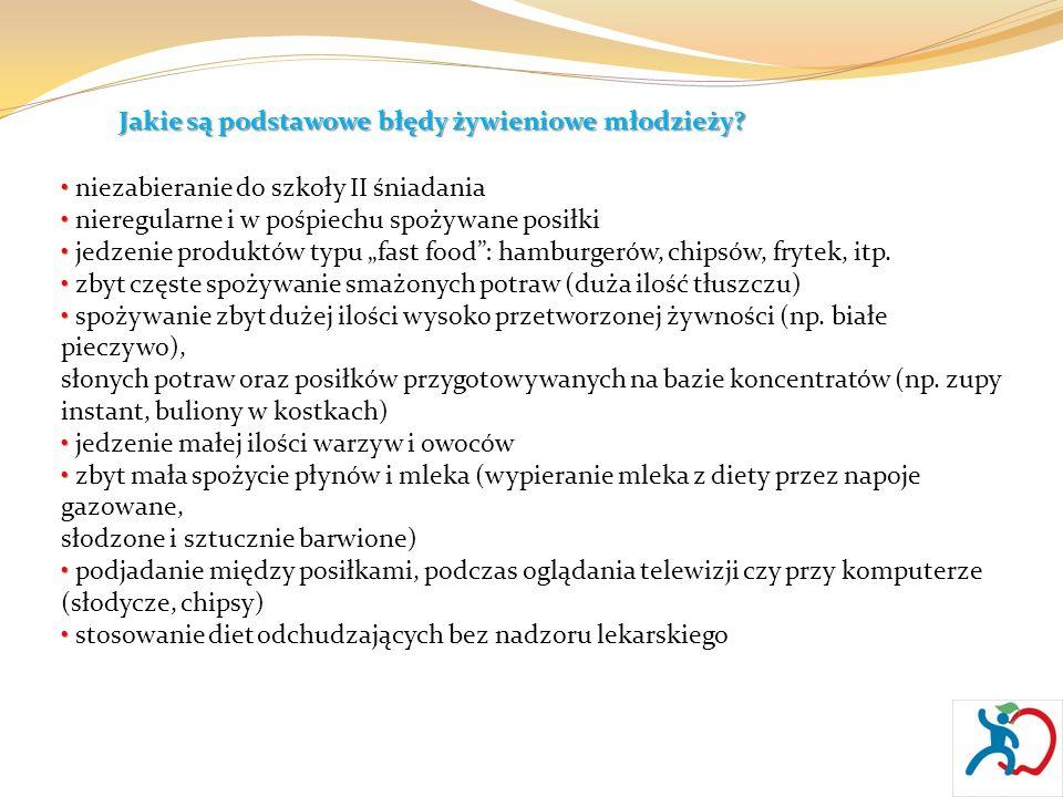 Jakie są podstawowe błędy żywieniowe młodzieży? niezabieranie do szkoły II śniadania nieregularne i w pośpiechu spożywane posiłki jedzenie produktów t