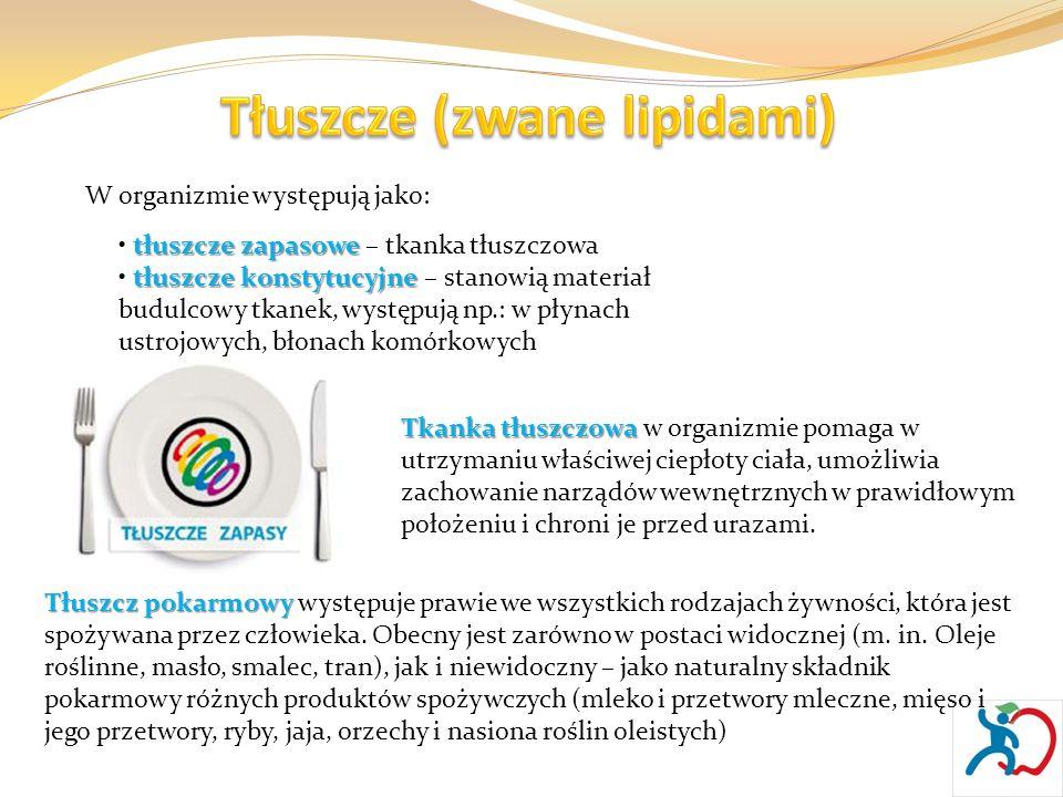 W organizmie występują jako: tłuszcze zapasowe tłuszcze zapasowe – tkanka tłuszczowa tłuszcze konstytucyjne tłuszcze konstytucyjne – stanowią materiał