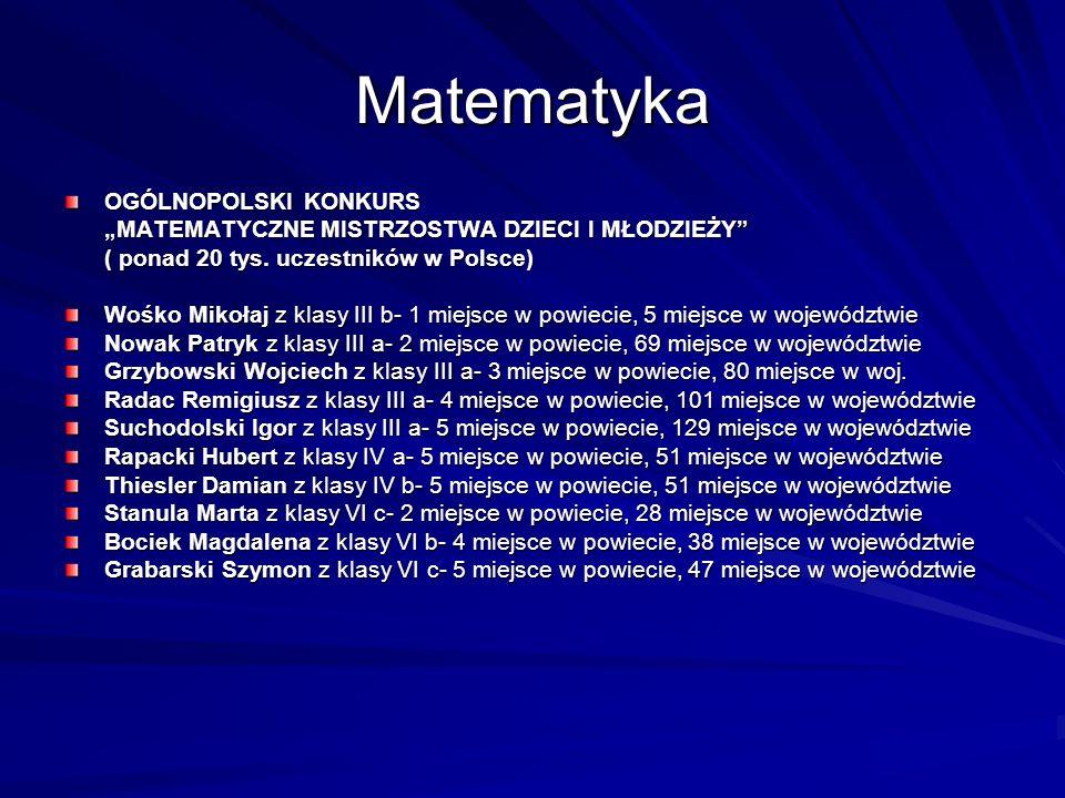 Matematyka OGÓLNOPOLSKI KONKURS MATEMATYCZNE MISTRZOSTWA DZIECI I MŁODZIEŻY ( ponad 20 tys. uczestników w Polsce) Wośko Mikołaj z klasy III b- 1 miejs
