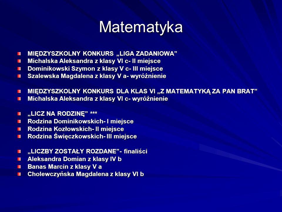 Matematyka MIĘDZYSZKOLNY KONKURS LIGA ZADANIOWA Michalska Aleksandra z klasy VI c- II miejsce Dominikowski Szymon z klasy V c- III miejsce Szalewska M