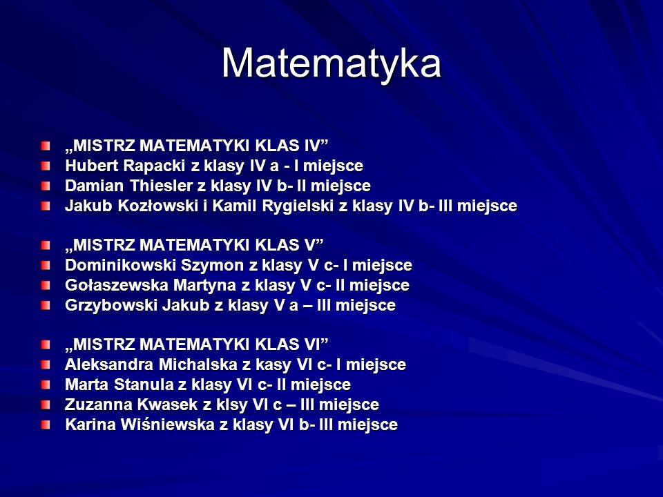 Matematyka MISTRZ MATEMATYKI KLAS IV Hubert Rapacki z klasy IV a - I miejsce Damian Thiesler z klasy IV b- II miejsce Jakub Kozłowski i Kamil Rygielsk