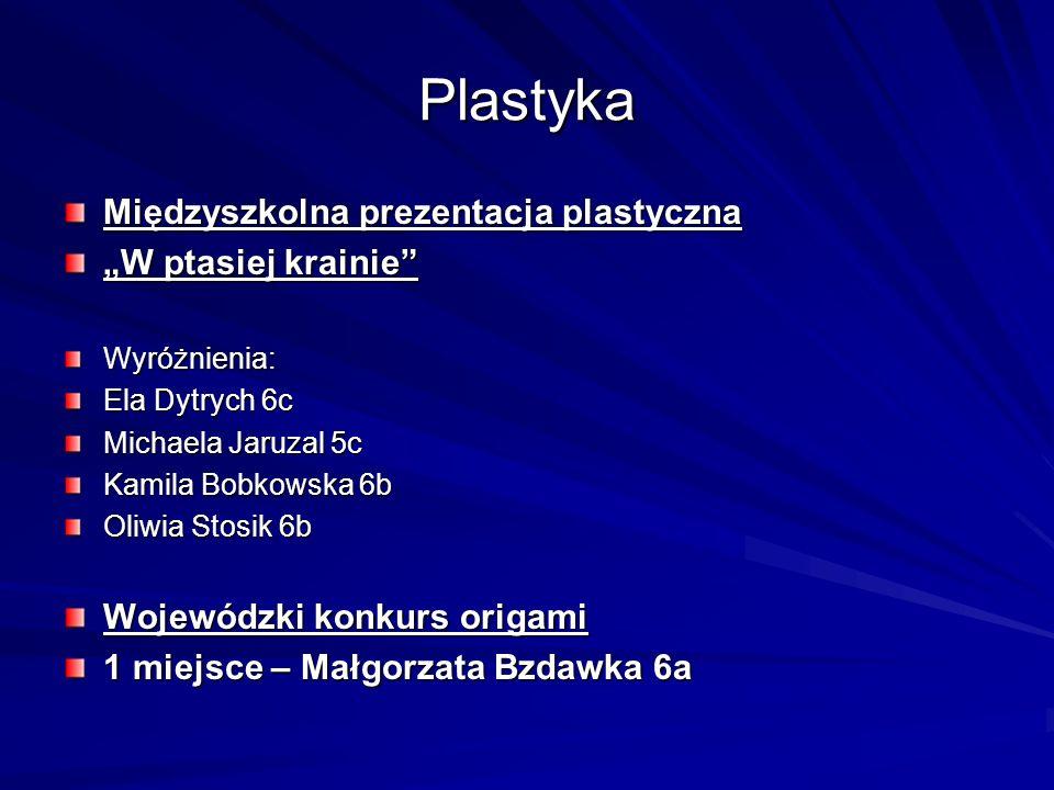 Plastyka Międzyszkolna prezentacja plastyczna W ptasiej krainie Wyróżnienia: Ela Dytrych 6c Michaela Jaruzal 5c Kamila Bobkowska 6b Oliwia Stosik 6b W