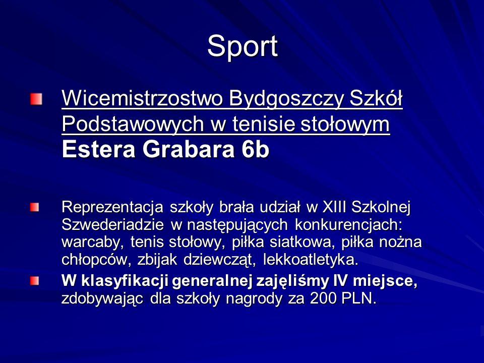 Sport Wicemistrzostwo Bydgoszczy Szkół Podstawowych w tenisie stołowym Estera Grabara 6b Reprezentacja szkoły brała udział w XIII Szkolnej Szwederiadz