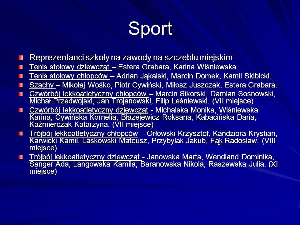 Sport Reprezentanci szkoły na zawody na szczeblu miejskim: Tenis stołowy dziewcząt – Estera Grabara, Karina Wiśniewska. Tenis stołowy chłopców – Adria