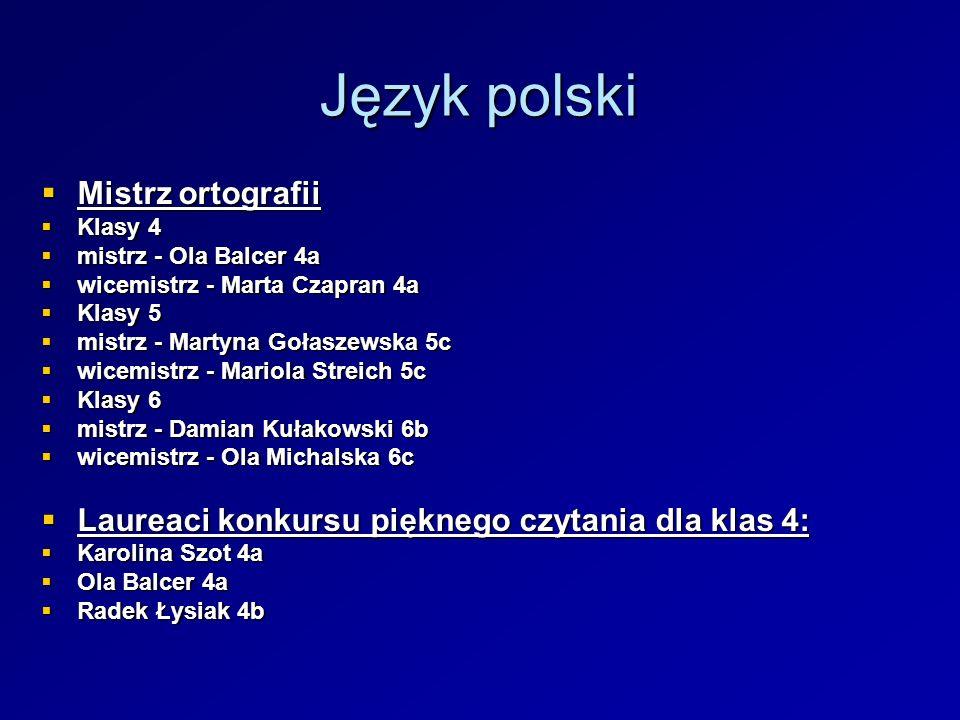 Język polski Mistrz ortografii Mistrz ortografii Klasy 4 Klasy 4 mistrz - Ola Balcer 4a mistrz - Ola Balcer 4a wicemistrz - Marta Czapran 4a wicemistr