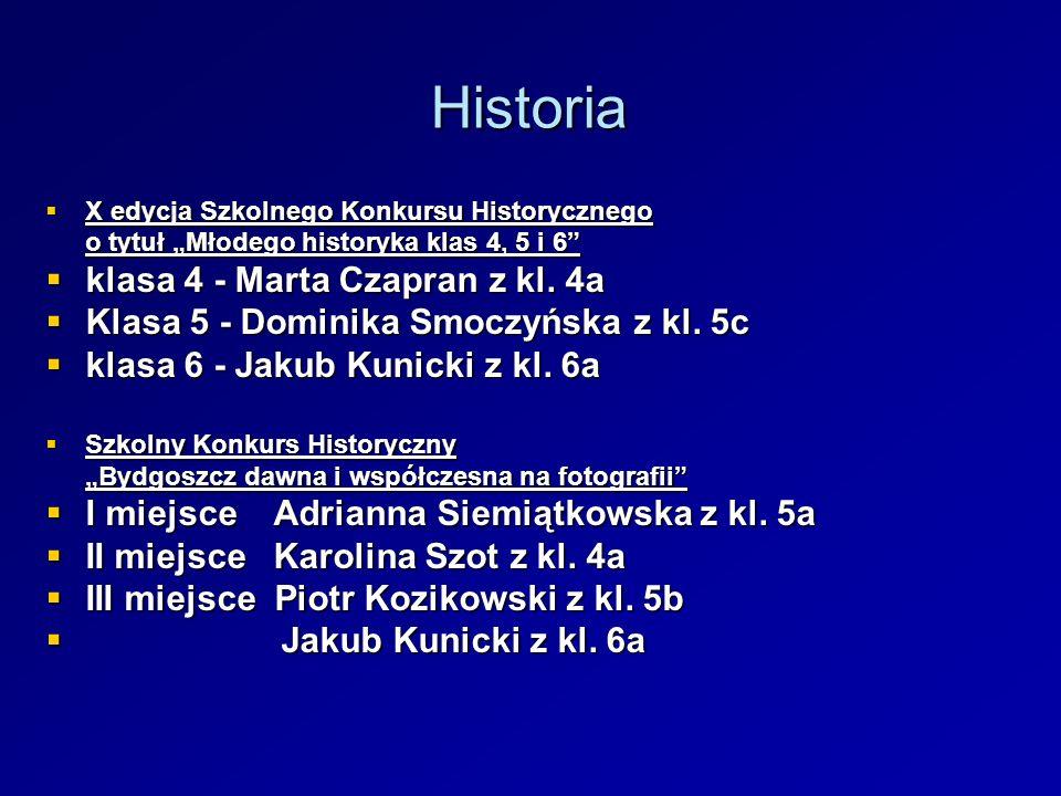 Historia X edycja Szkolnego Konkursu Historycznego X edycja Szkolnego Konkursu Historycznego o tytuł Młodego historyka klas 4, 5 i 6 klasa 4 - Marta C
