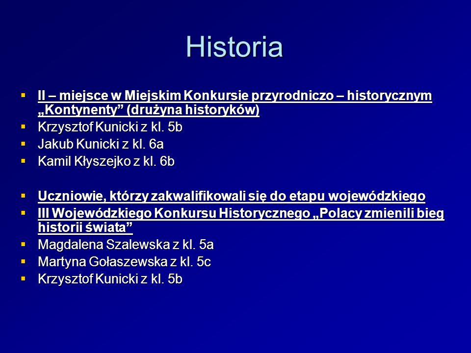 Historia II – miejsce w Miejskim Konkursie przyrodniczo – historycznym Kontynenty (drużyna historyków) II – miejsce w Miejskim Konkursie przyrodniczo