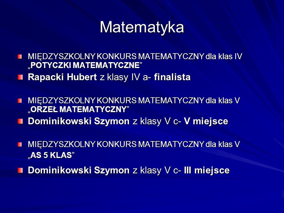 Matematyka MIĘDZYSZKOLNY KONKURS MATEMATYCZNY dla klas IVPOTYCZKI MATEMATYCZNE Rapacki Hubert z klasy IV a- finalista MIĘDZYSZKOLNY KONKURS MATEMATYCZ
