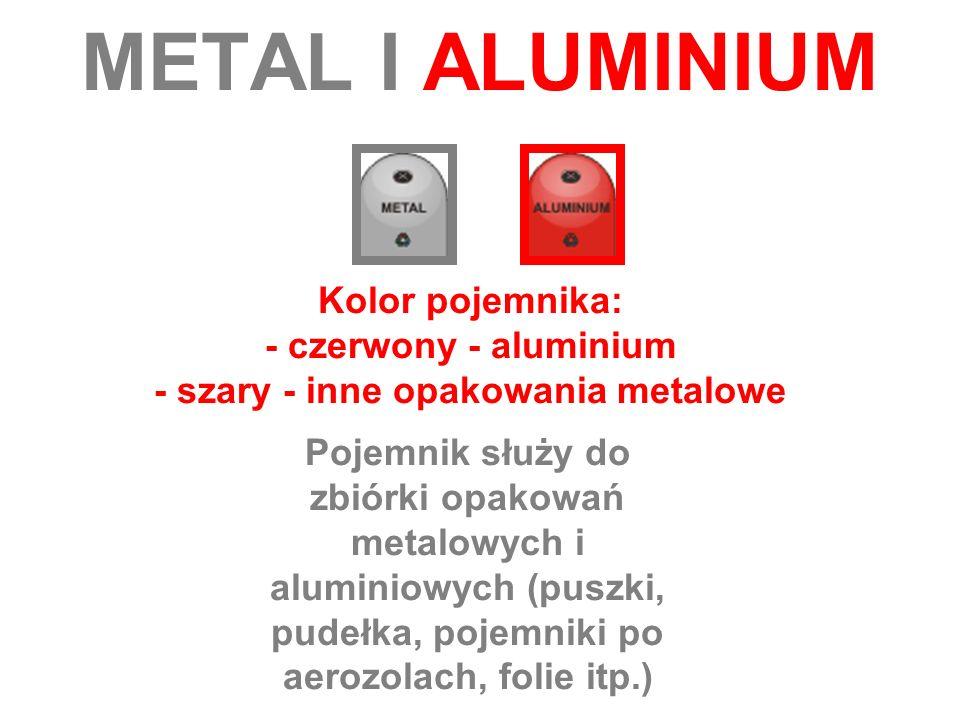 METAL I ALUMINIUM Kolor pojemnika: - czerwony - aluminium - szary - inne opakowania metalowe Pojemnik służy do zbiórki opakowań metalowych i aluminiow