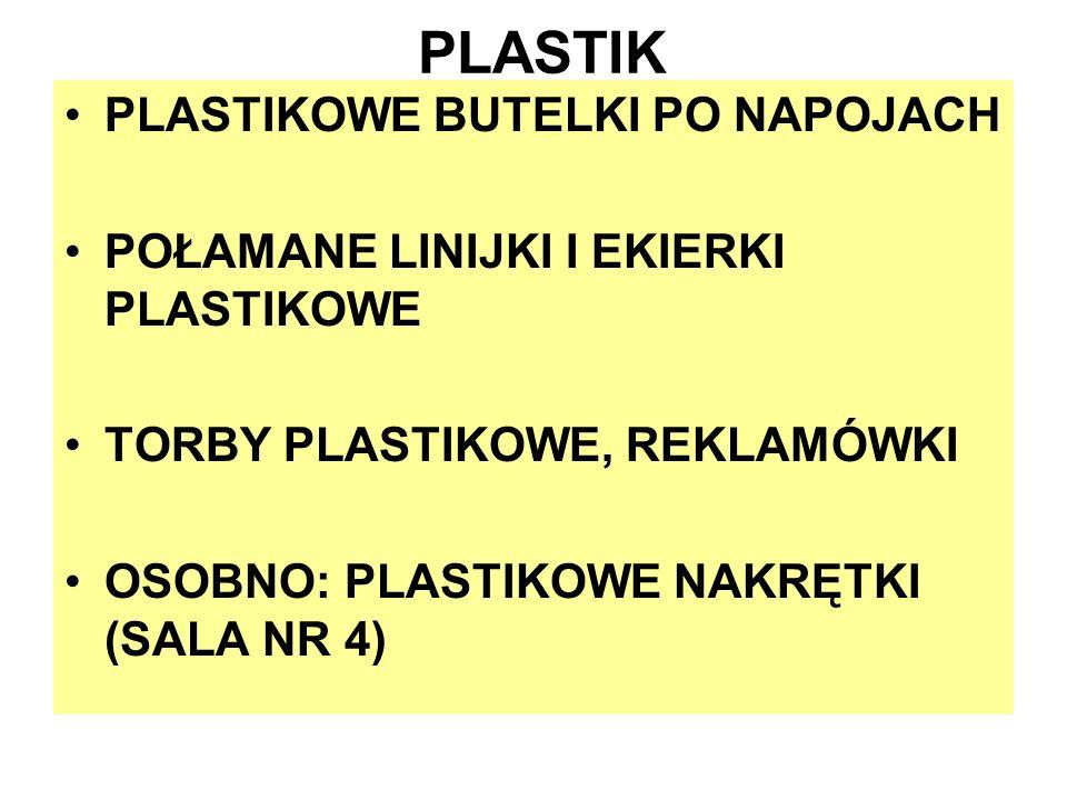 PLASTIK PLASTIKOWE BUTELKI PO NAPOJACH POŁAMANE LINIJKI I EKIERKI PLASTIKOWE TORBY PLASTIKOWE, REKLAMÓWKI OSOBNO: PLASTIKOWE NAKRĘTKI (SALA NR 4)