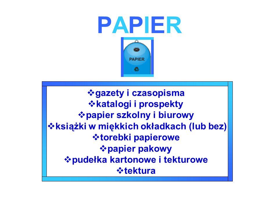 PAPIERPAPIER gazety i czasopisma katalogi i prospekty papier szkolny i biurowy książki w miękkich okładkach (lub bez) torebki papierowe papier pakowy