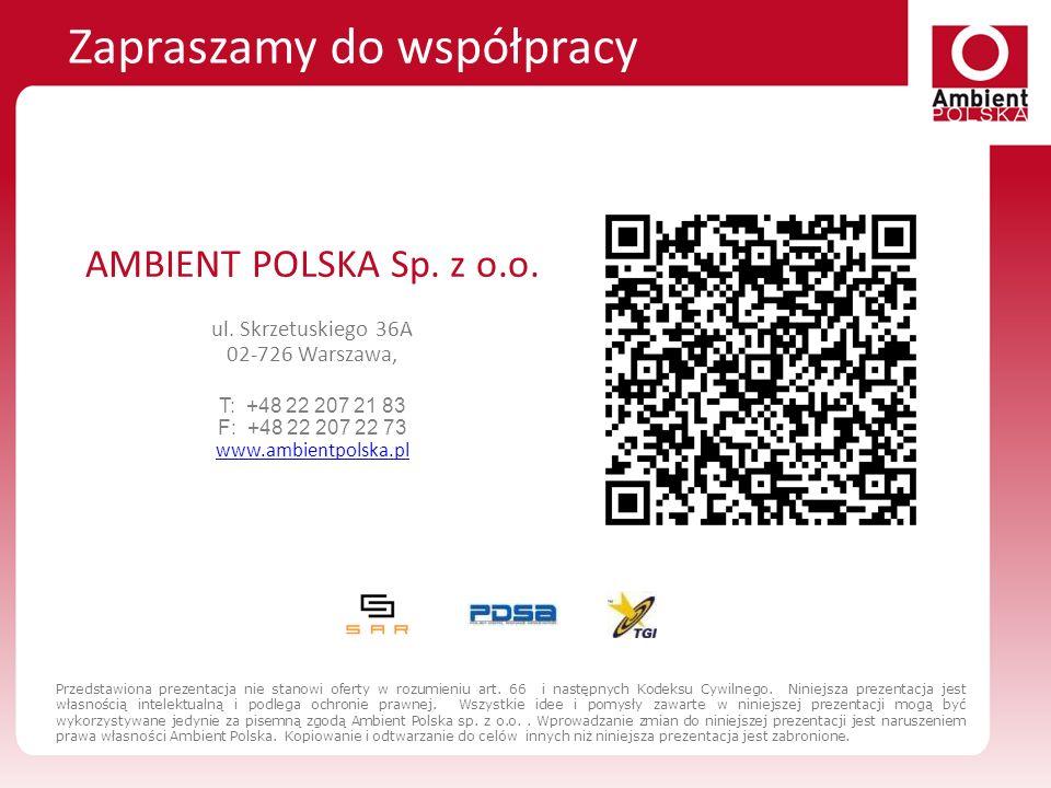 AMBIENT POLSKA Sp. z o.o. ul. Skrzetuskiego 36A 02-726 Warszawa, T: +48 22 207 21 83 F: +48 22 207 22 73 www.ambientpolska.pl www.ambientpolska.pl Zap
