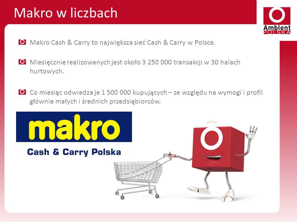 Makro w liczbach Makro Cash & Carry to największa sieć Cash & Carry w Polsce. Miesięcznie realizowanych jest około 3 250 000 transakcji w 30 halach hu