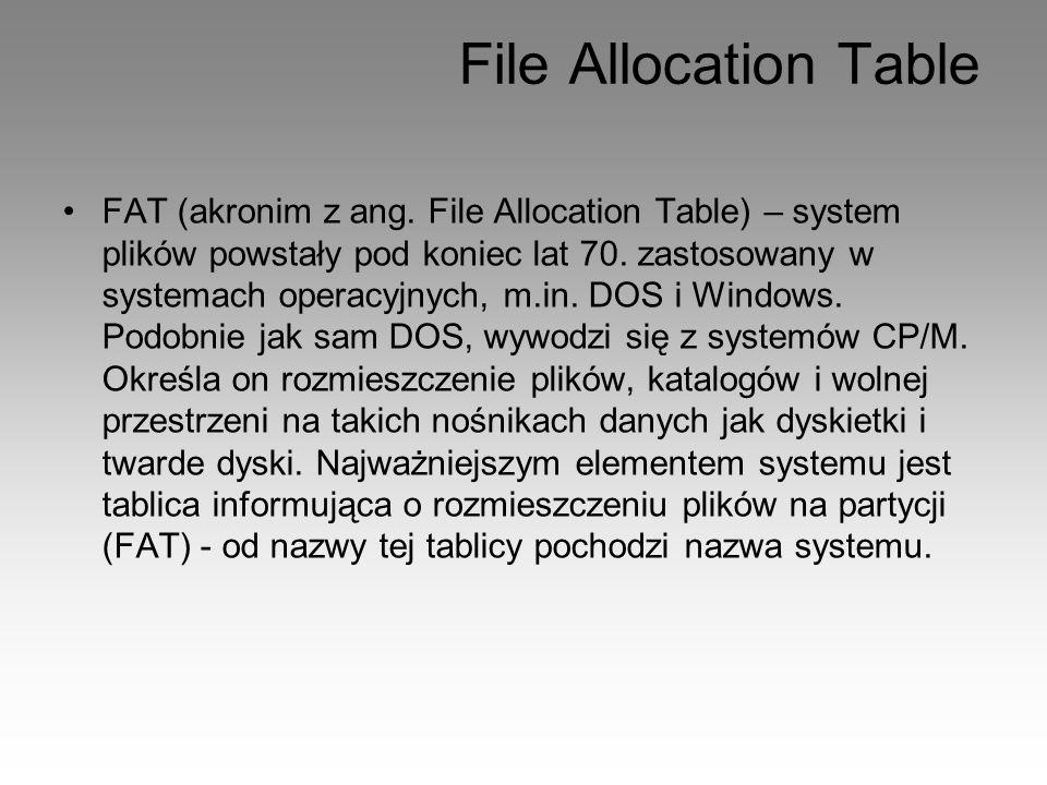 File Allocation Table FAT (akronim z ang. File Allocation Table) – system plików powstały pod koniec lat 70. zastosowany w systemach operacyjnych, m.i