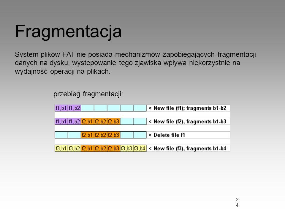24 Fragmentacja System plików FAT nie posiada mechanizmów zapobiegających fragmentacji danych na dysku, wystepowanie tego zjawiska wpływa niekorzystni