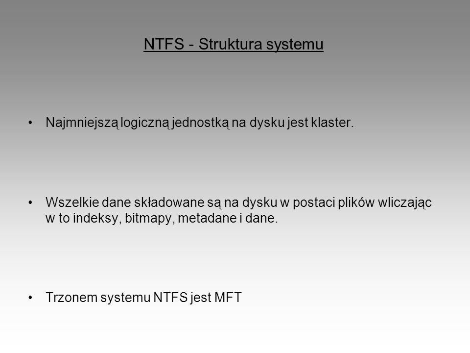 NTFS - Struktura systemu Najmniejszą logiczną jednostką na dysku jest klaster. Wszelkie dane składowane są na dysku w postaci plików wliczając w to in