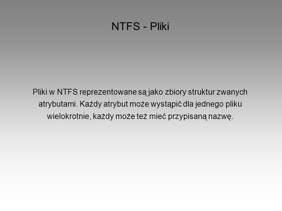 NTFS - Pliki Pliki w NTFS reprezentowane są jako zbiory struktur zwanych atrybutami. Każdy atrybut może wystąpić dla jednego pliku wielokrotnie, każdy