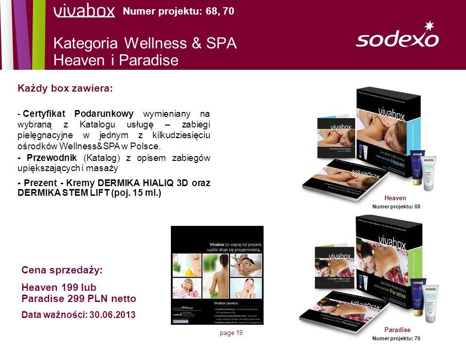 page 19 Kategoria Wellness & SPA Heaven i Paradise Numer projektu: 68, 70 Każdy box zawiera: - Certyfikat Podarunkowy wymieniany na wybraną z Katalogu