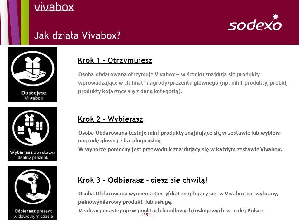 page 2 Osoba obdarowana otrzymuje Vivabox – w środku znajdują się produkty wprowadzające w klimat nagrody/prezentu głównego (np. mini-produkty, próbki