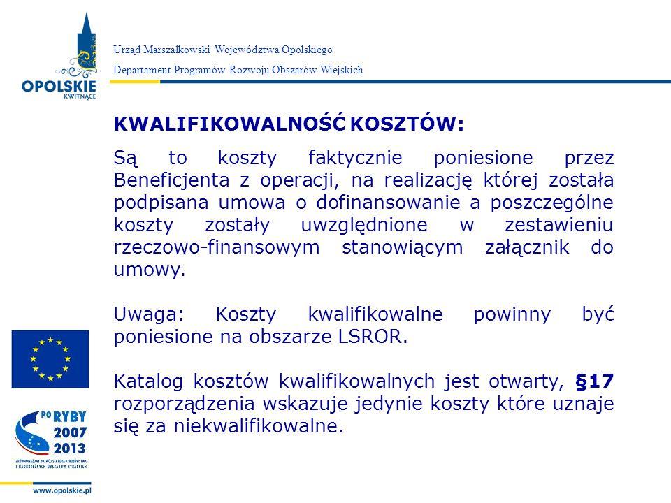 Zarząd Województwa Opolskiego Urząd Marszałkowski Województwa Opolskiego Departament Programów Rozwoju Obszarów Wiejskich IV.