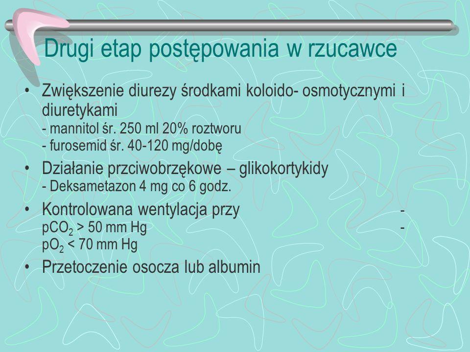 Drugi etap postępowania w rzucawce Zwiększenie diurezy środkami koloido- osmotycznymi i diuretykami - mannitol śr. 250 ml 20% roztworu - furosemid śr.