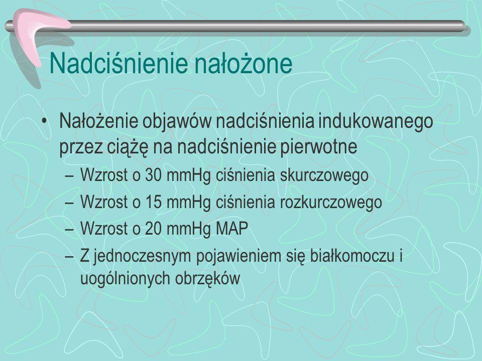 Nadciśnienie nałożone Nałożenie objawów nadciśnienia indukowanego przez ciążę na nadciśnienie pierwotne –Wzrost o 30 mmHg ciśnienia skurczowego –Wzros
