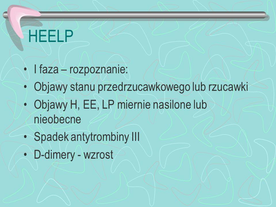HEELP I faza – rozpoznanie: Objawy stanu przedrzucawkowego lub rzucawki Objawy H, EE, LP miernie nasilone lub nieobecne Spadek antytrombiny III D-dime