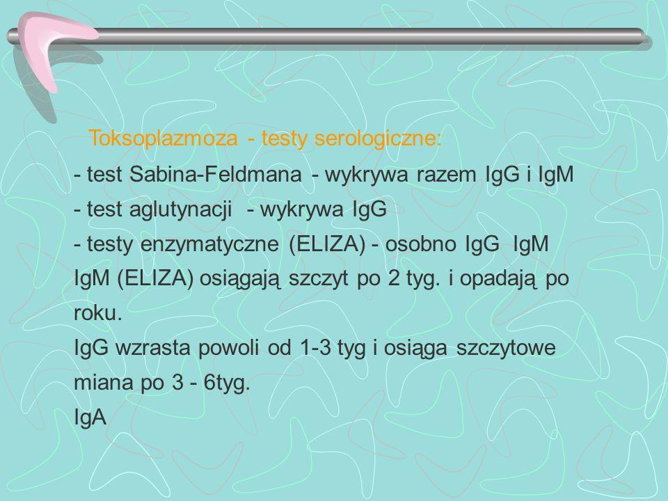 Toksoplazmoza - testy serologiczne: - test Sabina-Feldmana - wykrywa razem IgG i IgM - test aglutynacji - wykrywa IgG - testy enzymatyczne (ELIZA) - o