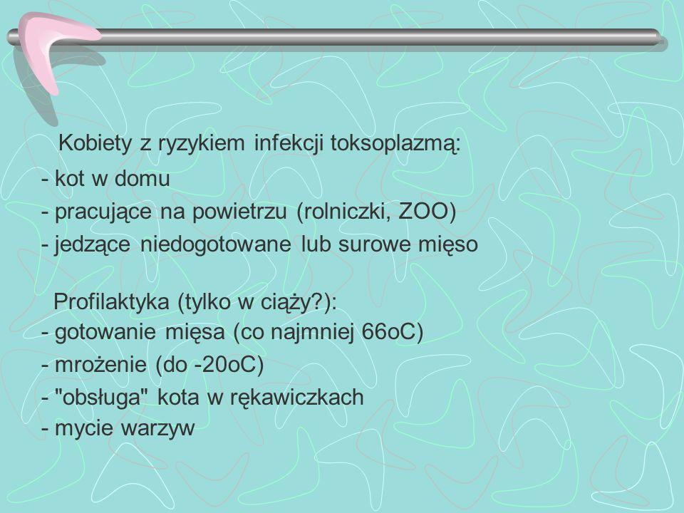 Kobiety z ryzykiem infekcji toksoplazmą: - kot w domu - pracujące na powietrzu (rolniczki, ZOO) - jedzące niedogotowane lub surowe mięso Profilaktyka