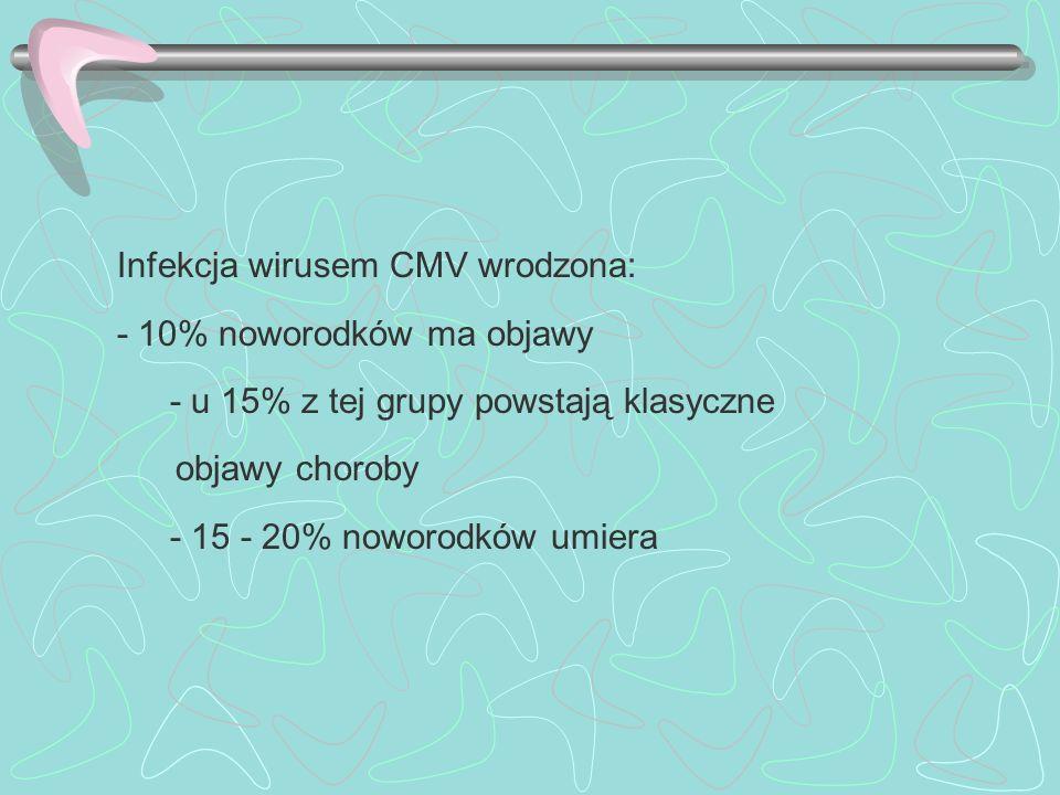 Infekcja wirusem CMV wrodzona: - 10% noworodków ma objawy - u 15% z tej grupy powstają klasyczne objawy choroby - 15 - 20% noworodków umiera