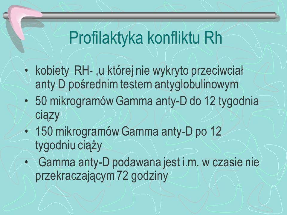 Profilaktyka konfliktu Rh kobiety RH-,u której nie wykryto przeciwciał anty D pośrednim testem antyglobulinowym 50 mikrogramów Gamma anty-D do 12 tygo