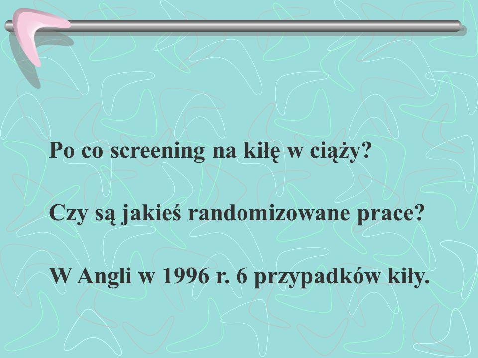 Po co screening na kiłę w ciąży? Czy są jakieś randomizowane prace? W Angli w 1996 r. 6 przypadków kiły.