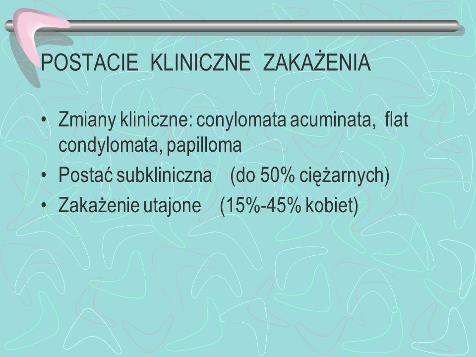POSTACIE KLINICZNE ZAKAŻENIA Zmiany kliniczne: conylomata acuminata, flat condylomata, papilloma Postać subkliniczna (do 50% ciężarnych) Zakażenie uta