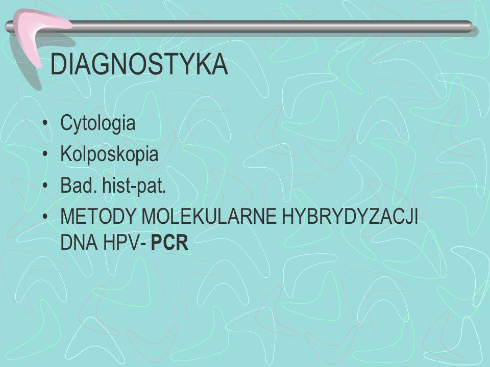 DIAGNOSTYKA Cytologia Kolposkopia Bad. hist-pat. METODY MOLEKULARNE HYBRYDYZACJI DNA HPV- PCR