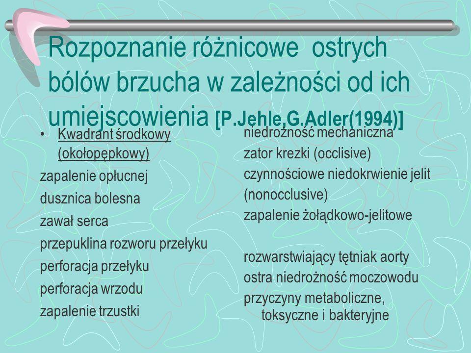 Rozpoznanie różnicowe ostrych bólów brzucha w zależności od ich umiejscowienia [P.Jehle,G.Adler(1994)] Kwadrant środkowy (okołopępkowy) zapalenie opłu
