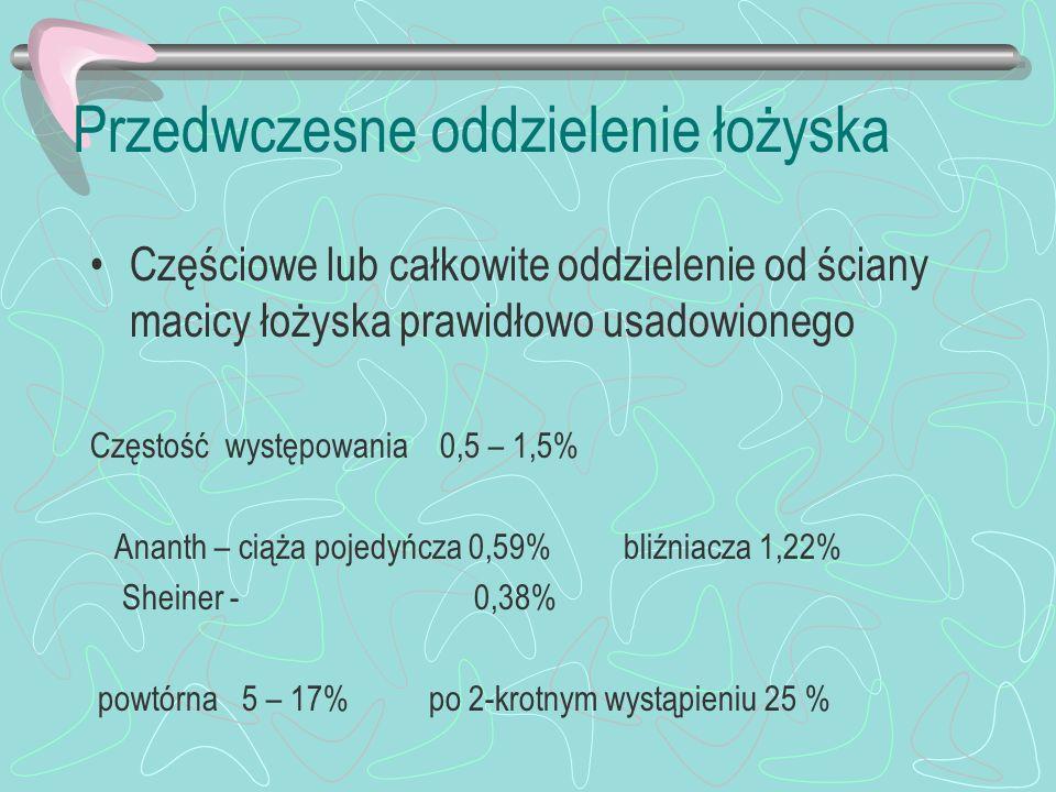 Przedwczesne oddzielenie łożyska Częściowe lub całkowite oddzielenie od ściany macicy łożyska prawidłowo usadowionego Częstość występowania 0,5 – 1,5%