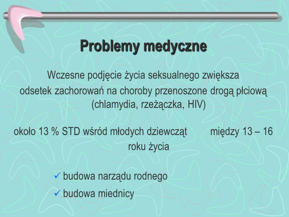 Problemy medyczne Wczesne podjęcie życia seksualnego zwiększa odsetek zachorowań na choroby przenoszone drogą płciową (chlamydia, rzeżączka, HIV) okoł