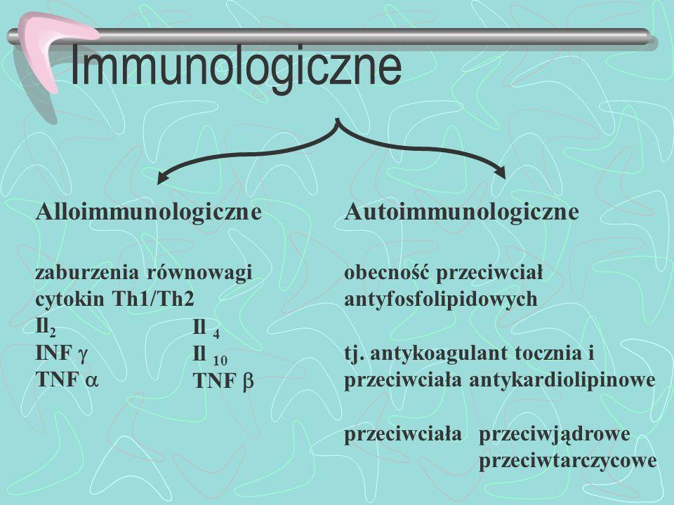 Immunologiczne Alloimmunologiczne zaburzenia równowagi cytokin Th1/Th2 Il 2 INF TNF Autoimmunologiczne obecność przeciwciał antyfosfolipidowych tj. an