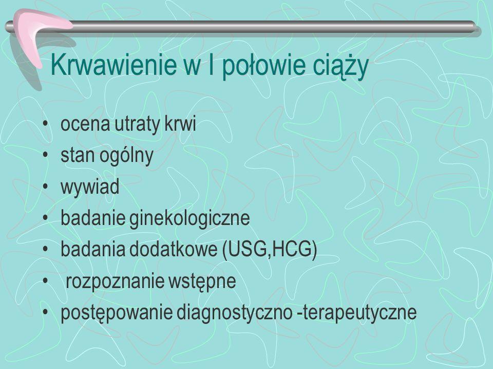 Przyczyny krwawień poronienia ciąża pozamaciczna ciążowa choroba trofoblastyczna krwawienie implantacyjne niewydolność cieśniowo-szyjkowa krwawienia z nadżerki szyjki macicy zakażenie lub uszkodzenie szyjki i pochwy polip doczesnowy