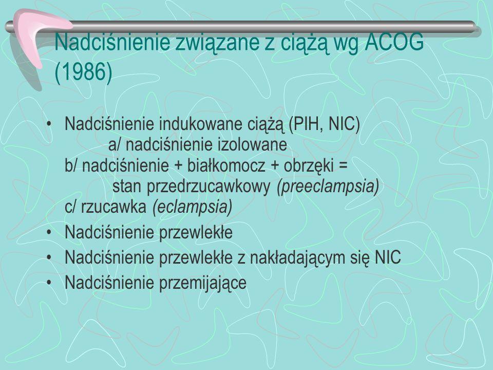 Nadciśnienie związane z ciążą wg ACOG (1986) Nadciśnienie indukowane ciążą (PIH, NIC) a/ nadciśnienie izolowane b/ nadciśnienie + białkomocz + obrzęki