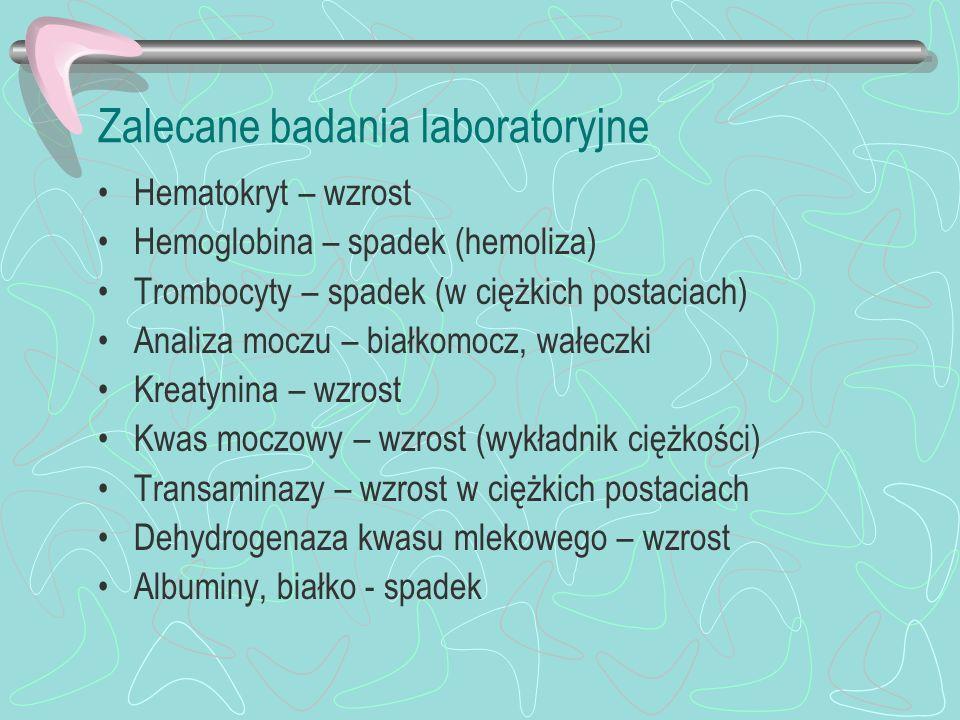 Zalecane badania laboratoryjne Hematokryt – wzrost Hemoglobina – spadek (hemoliza) Trombocyty – spadek (w ciężkich postaciach) Analiza moczu – białkom