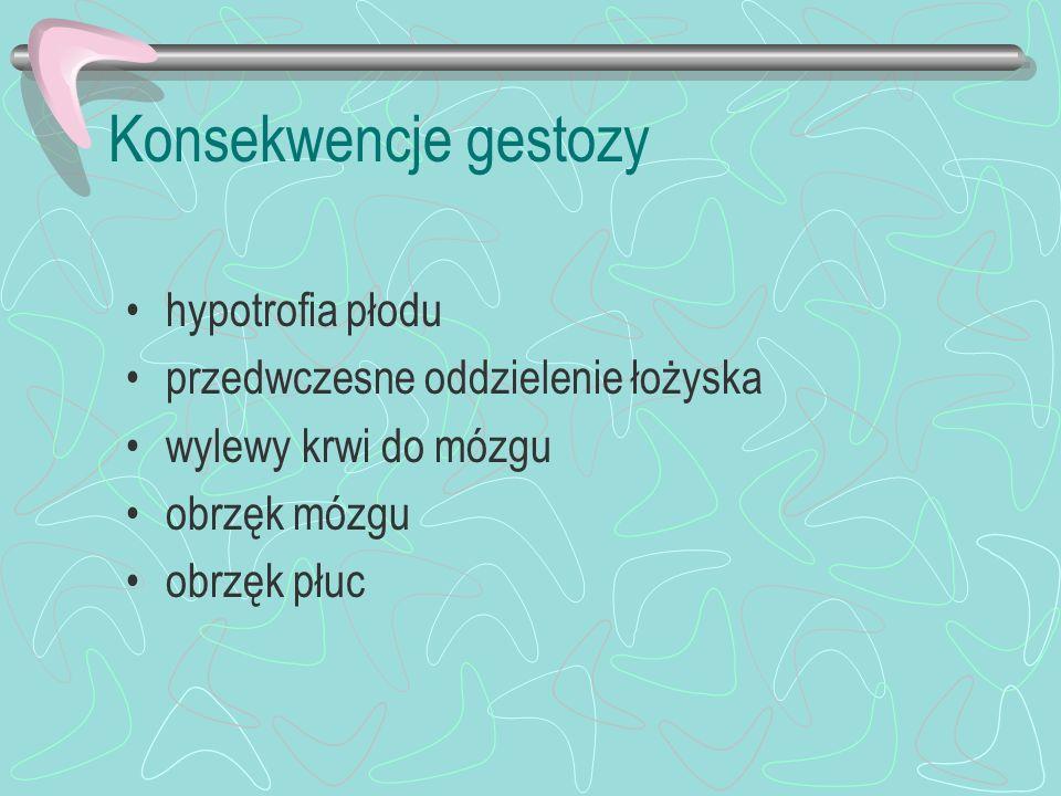 Konsekwencje gestozy hypotrofia płodu przedwczesne oddzielenie łożyska wylewy krwi do mózgu obrzęk mózgu obrzęk płuc