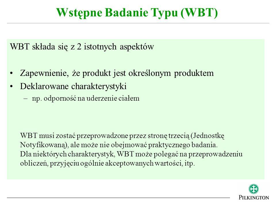 WBT składa się z 2 istotnych aspektów Zapewnienie, że produkt jest określonym produktem Deklarowane charakterystyki –np. odporność na uderzenie ciałem