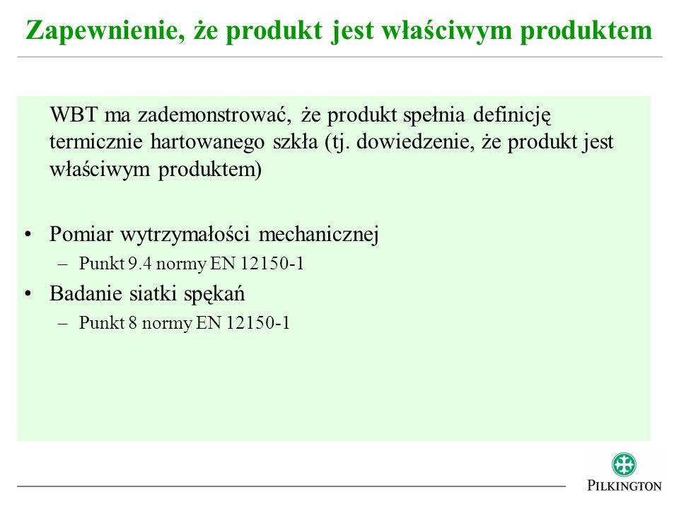 WBT ma zademonstrować, że produkt spełnia definicję termicznie hartowanego szkła (tj. dowiedzenie, że produkt jest właściwym produktem) Pomiar wytrzym