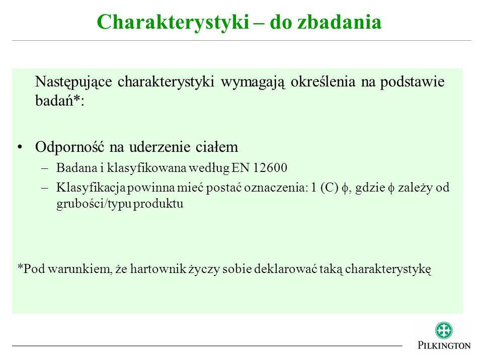 Następujące charakterystyki wymagają określenia na podstawie badań*: Odporność na uderzenie ciałem –Badana i klasyfikowana według EN 12600 –Klasyfikac