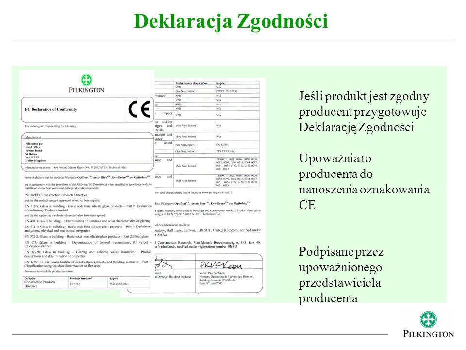 Deklaracja Zgodności Jeśli produkt jest zgodny producent przygotowuje Deklarację Zgodności Upoważnia to producenta do nanoszenia oznakowania CE Podpis