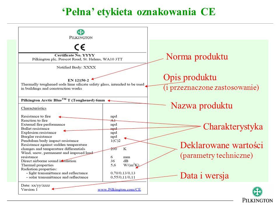 Pełna etykieta oznakowania CE Norma produktu Opis produktu (i przeznaczone zastosowanie) Nazwa produktu Charakterystyka Deklarowane wartości (parametr